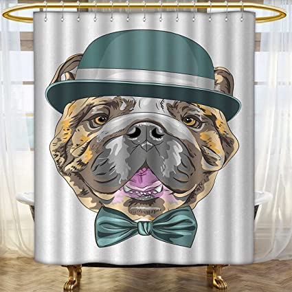 English Bulldog Shower Curtains Mildew Resistant Dog In A Hat And Bow Tie Animal Design With