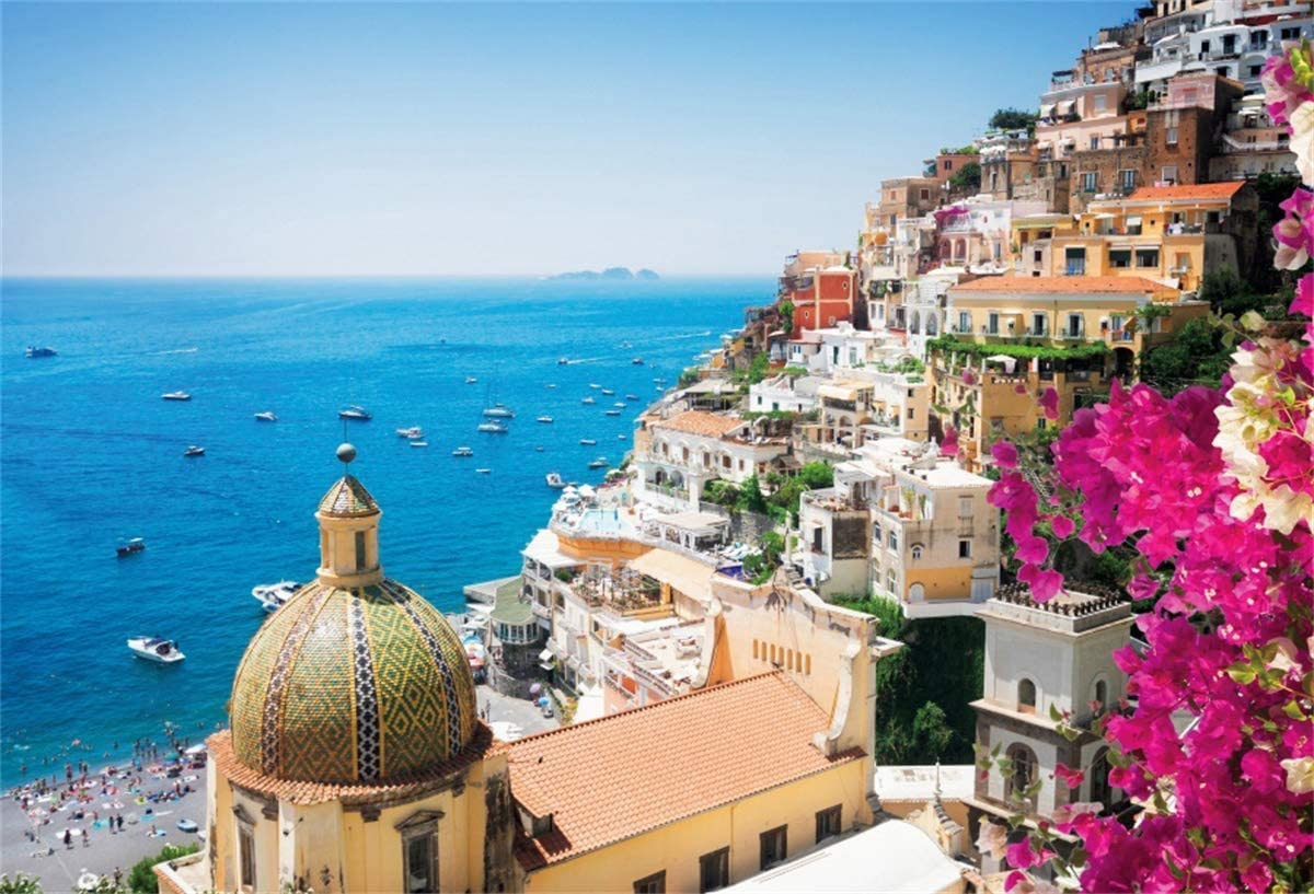 YEELE 10x8ft Famous Old Italian Resort Backdrop Sea View of Positano Italy Photography Background Artistic Portrait City Landscape YouTube Channel Photo Booth Digital Wallpaper