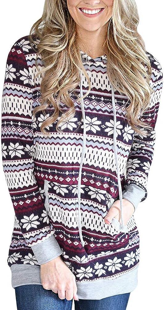 For G and PL Women's Christmas Snowflakes Hoodie Top with Kangaroo Pocket