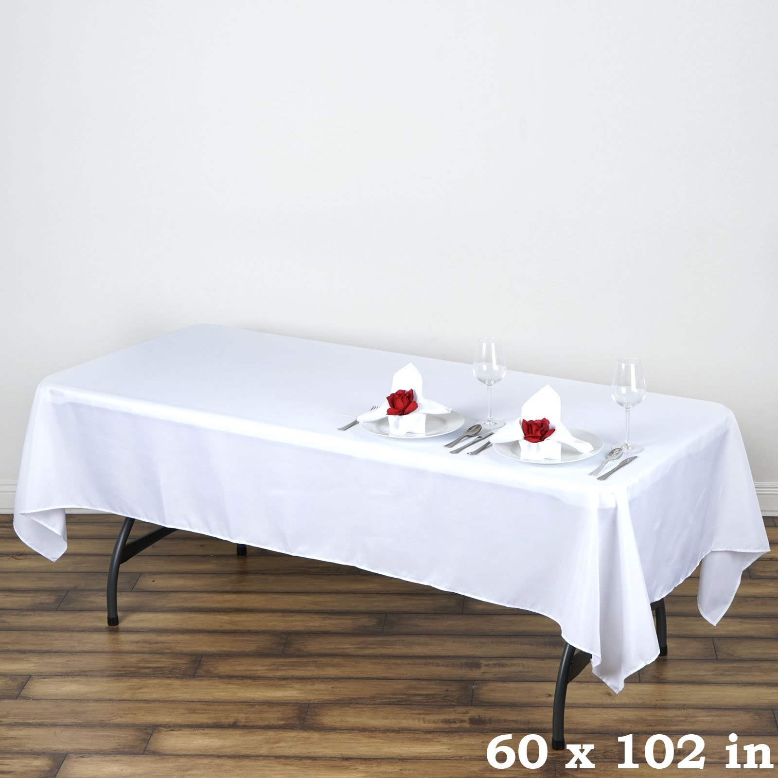 Efavormart 5pcs of White 60x102 Polyester Rectangle Tablecloths Banquet Linen Wedding Party Restaurant Tablecloth by Efavormart (Image #1)