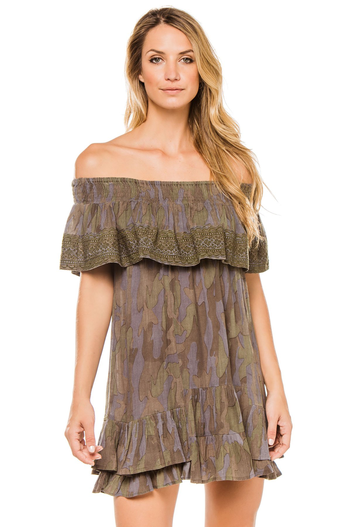 Muche et Muchette Women's Wovens Dress Swim Cover Up Camo One
