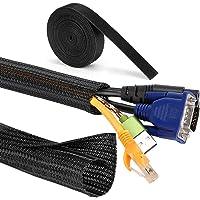 MOSOTECH kabelgoot, 2 x 1,6 m, zelfsluitend, kabelslang + 1 x 300 cm klittenband kabelbinder voor tv, pc, thuisbioscoop…