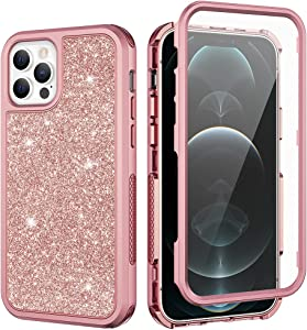 Ruky iPhone 12 Pro Max Case, Glitter Full Body Cover with Built-in Screen Protector Heavy Duty Shockproof Bumper Luxury Sparkle Bling Protective Women Girls Phone Case for iPhone 12 Pro Max, Rose Gold