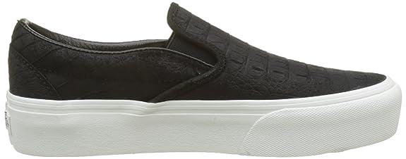 Vans Damen Classic Slip-on Platform Leather Sneaker, Mehrfarbig (Embossed/Black/Blanc De Blanc), 42 EU