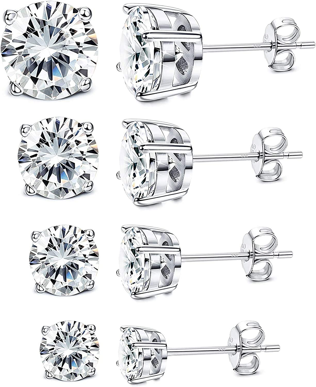Milacolato 4Pairs Sterling Silver Stud Earrings 18K White Gold Plated Round Cubic Zirconia Classic Basket Prong Set Earrings for Men Women 4-7mm