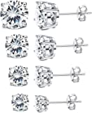 Milacolato 4Pairs Sterling Silver Stud Earrings 18K White Gold Plated Round Cubic Zirconia Classic Basket Prong Set…
