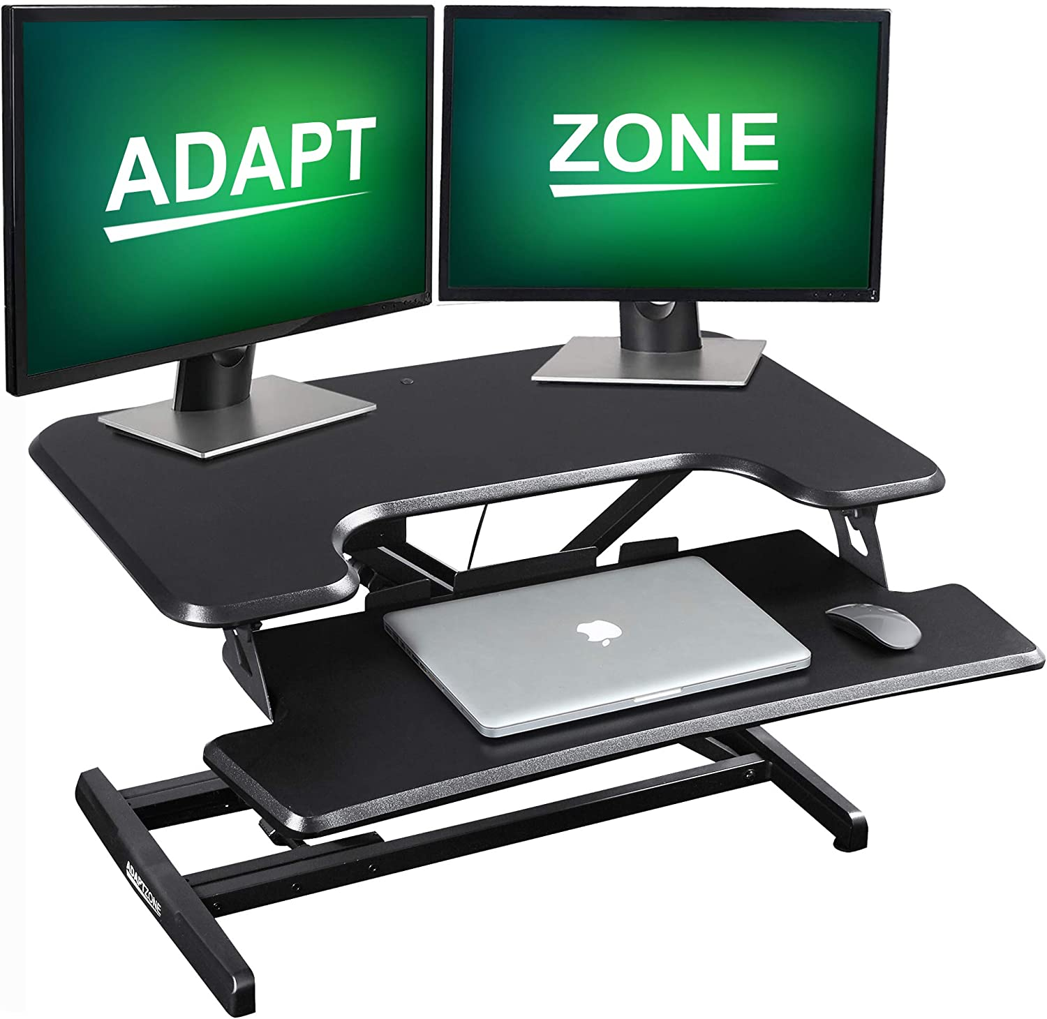 ADAPTZONE Height Adjustable Standing Desk Converter - 33 Inch Ergonomic Sit Stand Up Desk – Laptop Riser, Dual Monitor Home Office Workstation