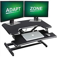 ADAPTZONE Standing Desk Converter, 33 Inch Height Adjustable Sit Stand Up Desk Riser, Sit Stand Desk Converter with Deep…