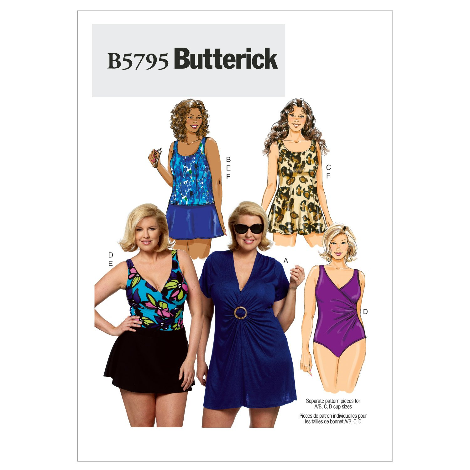 Butterick Patterns B5795 Size RR 18W-20W-22W-24W Womens Cover-Up Top Swimdress Swimsuit Skirt and Briefs, Pack of 1, White The McCall Pattern Company B5795RR0