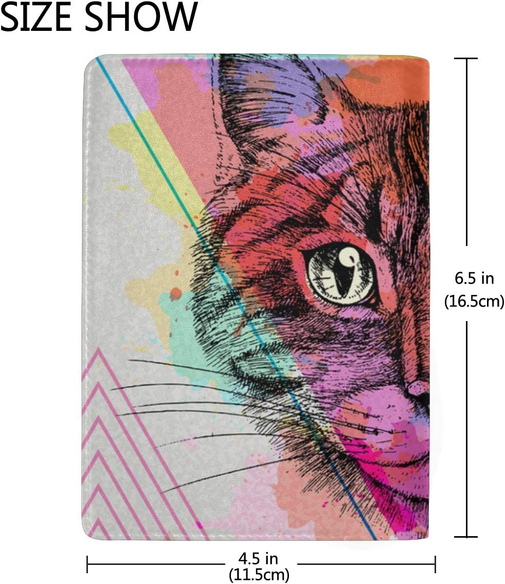 Cat Pajamas For Women Leather Passport Holder Cover Case Blocking Travel Wallet