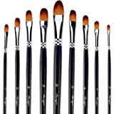Amagic 9 PCS Filbert Brushes with Case for Acrylic Oil Watercolor Artist Professional Painting Kits with Synthetic Nylon…