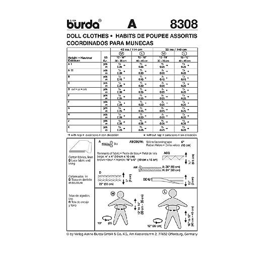 Burda Schnittmuster 8308 Puppenkleider in 2 Gr??en M 30-35 cm, L 40-45