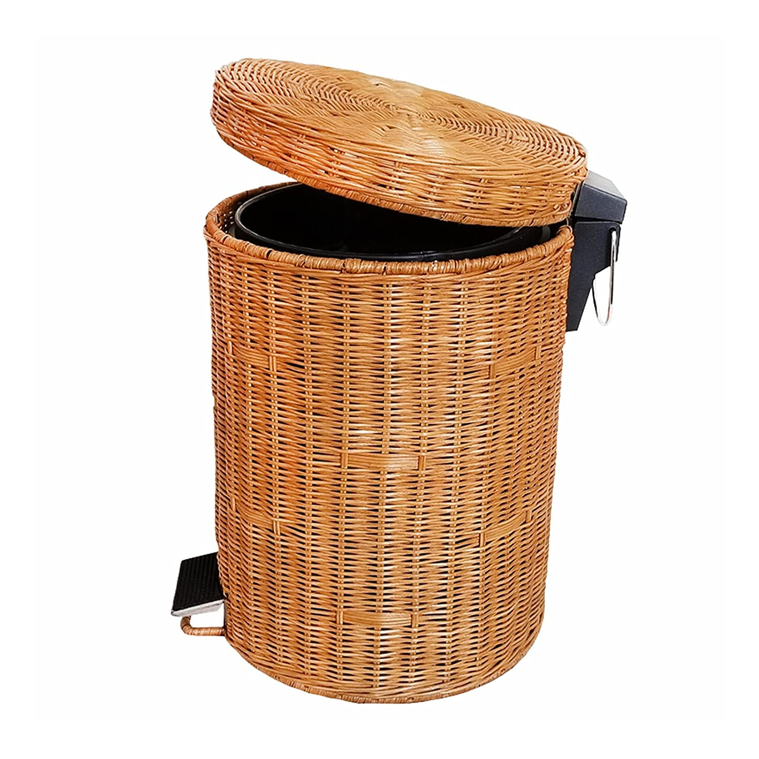Rattan Wicker Trash Can with Lid, Round Hand Woven Waste Bins for Kitchens, Step Trash can Wastebasket for Home Bathrooms Office Patio Wrash can (Yellow, 1.3gallon(5L))
