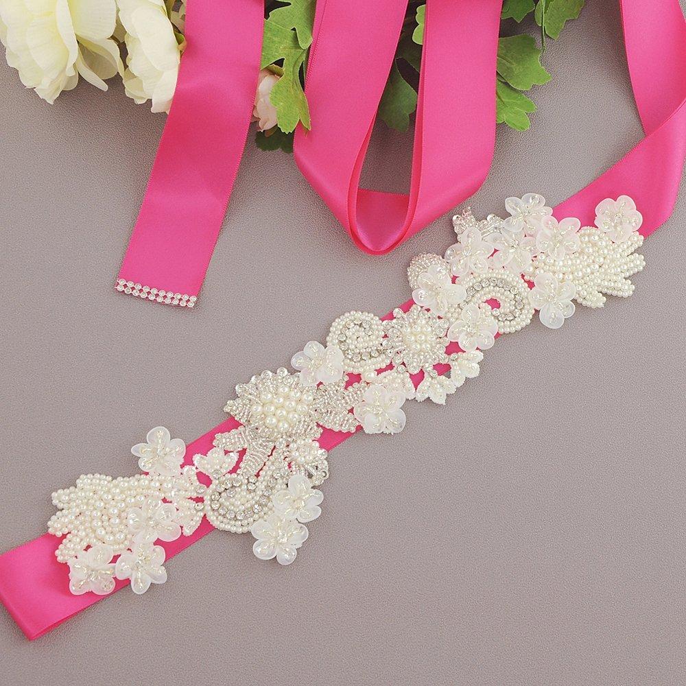THK-Wedding Crystal Wedding Sash Bridal Belt Bridal Sash Wedding Perle Pearl for Wedding,S331