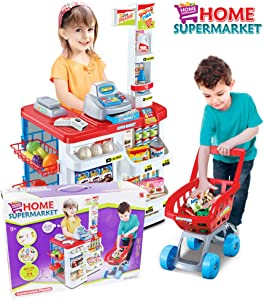 Kids Play Pretend Supermarket with Trolley Toy Set, Supermarket Playset with Working Scanner Register Workbench Shopping Cart Accessories (34 pcs, Multicolor)