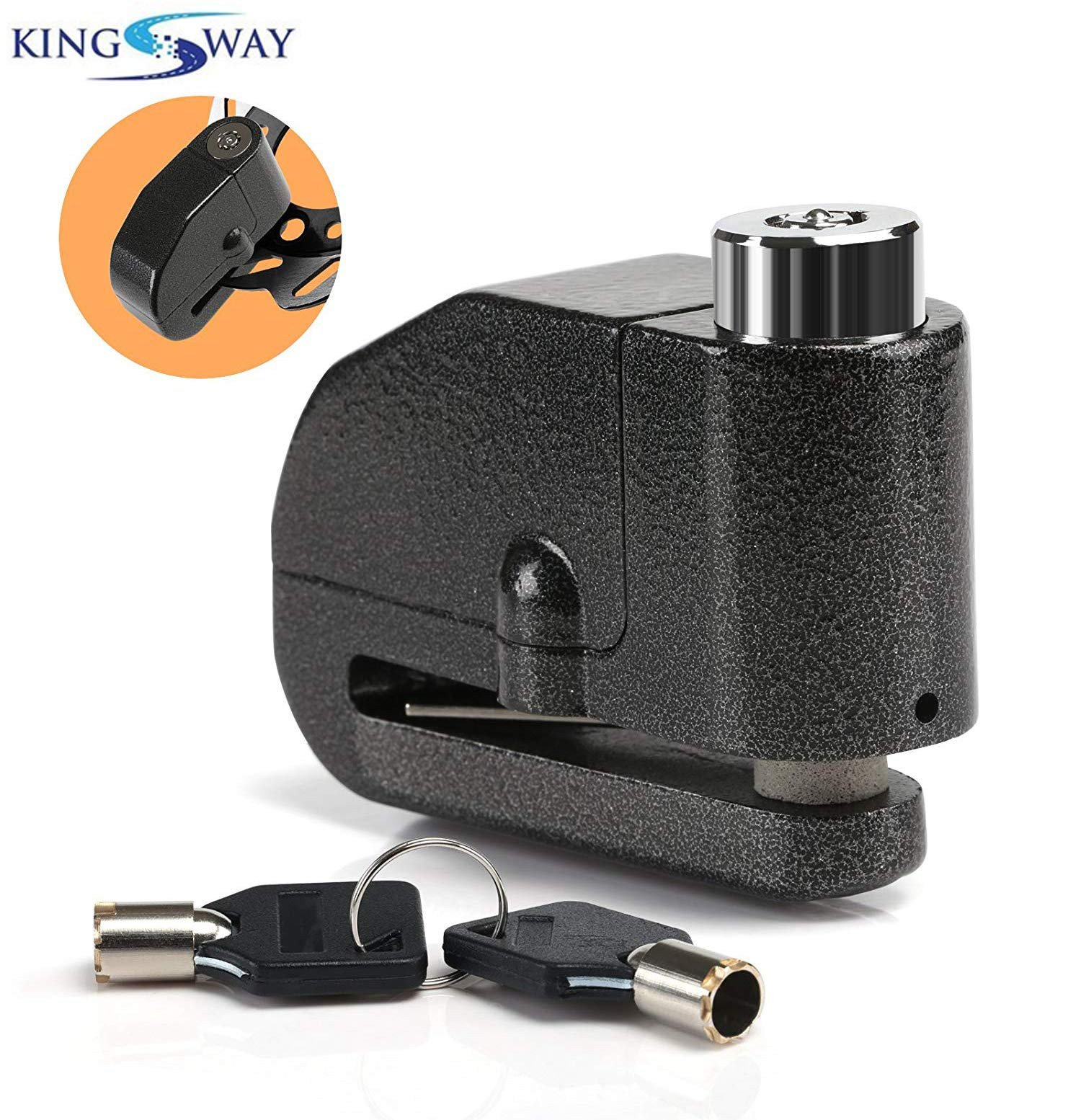 Kingsway alarm disc lock motorbike anti-theft disc brake lock with 110db alarm sound for motorcycle bike scooter product image
