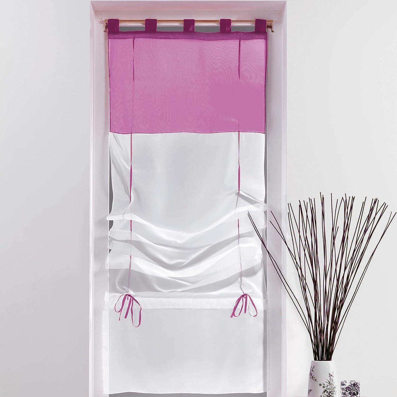 Douceur d'Intérieur Store Forme Droite Voile Polyester Blanc/Aubergine 180 x 60 cm 1621355