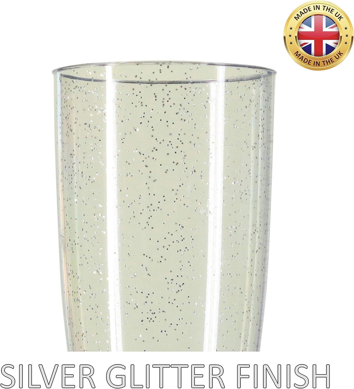 Silver Glitter Plastic Champagne Prosecco Flutes Glasses Two Piece Pack of 10