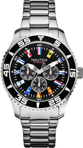 Nautica Reloj Analógico para Hombre de Cuarzo con Correa en Acero Inoxidable A14631G: Amazon.es: Relojes