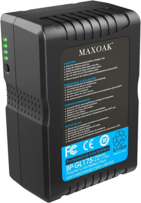 Amazon Com Maxoak 177wh 12000mah 14 8v V Mount Battery And Charger V Lock Battery For Video Camera Camcorder With D Tap Not For Red Series Camera Photo