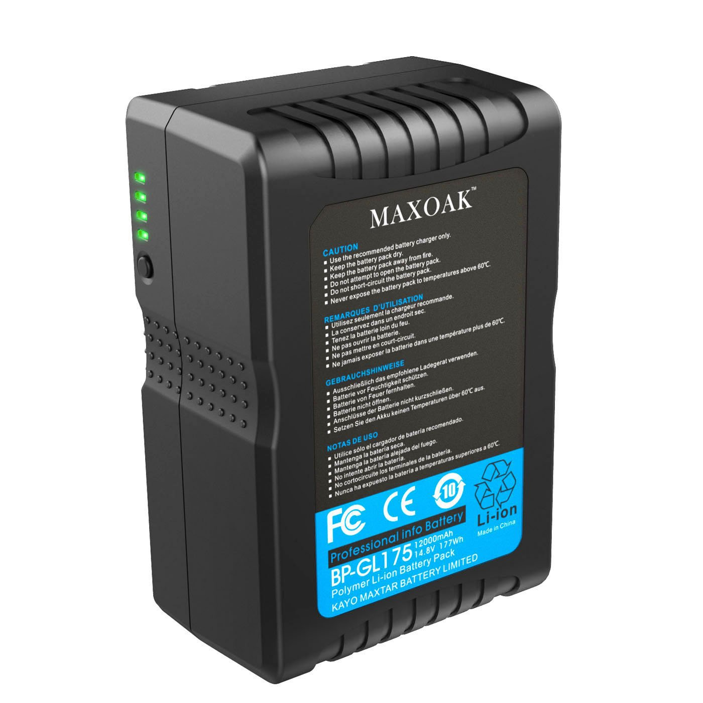 MAXOAK 177 (12000mAh/14.8V) V Mount Battery for Video Camera Camcorder (not for RED series) by MAXOAK