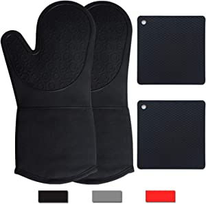 Silicone Oven Mitts and Pot Holders Sets , Heavy Duty Heat Resistant Waterproof Black Long Oven Mits Pair, Kitchen Counter Safe Trivet Square Hot Pads, Flexible for Cooking Baking Grilling Microwave