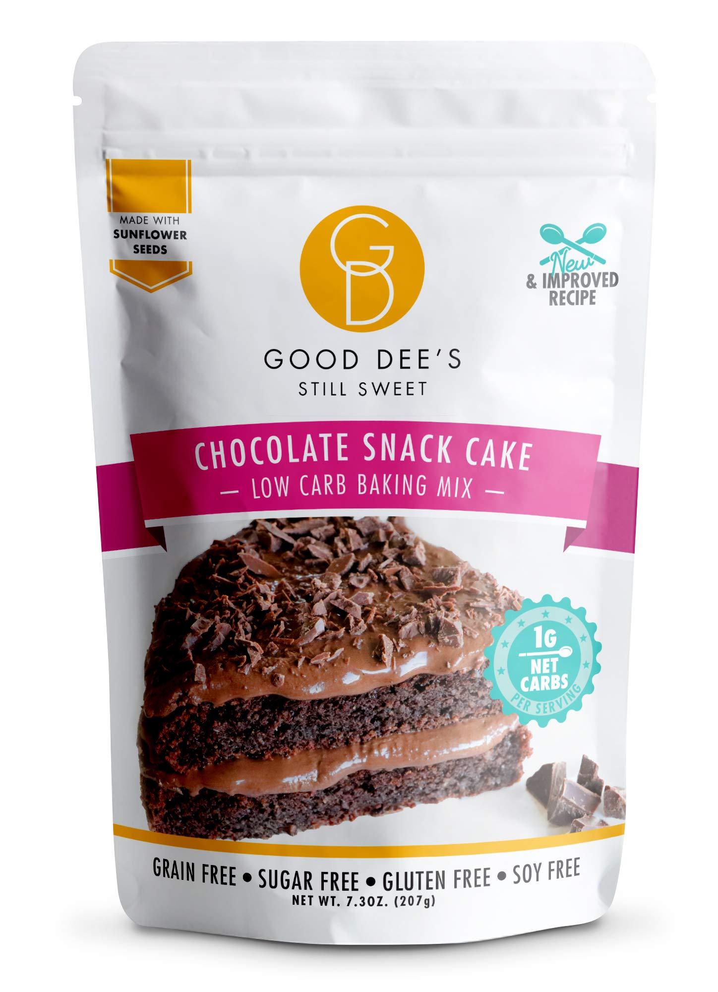 Good Dee's Chocolate Snack Cake Baking Mix - Low Carb Keto Baking Mix (1g Net Carbs, 12 Serving) | Sugar-Free, Gluten-Free, Grain-Free, Soy-Free & Nut-Free | Diabetic, Atkins & WW Friendly
