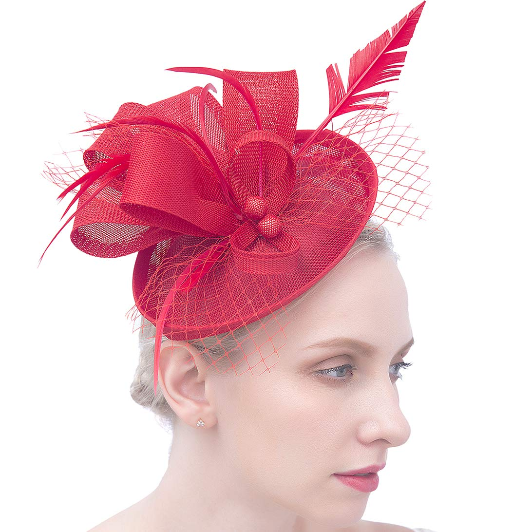 Felizhouse Fascinator Hats for Women Feather Cocktail Party Hats Bridal Kentucky Derby Headband