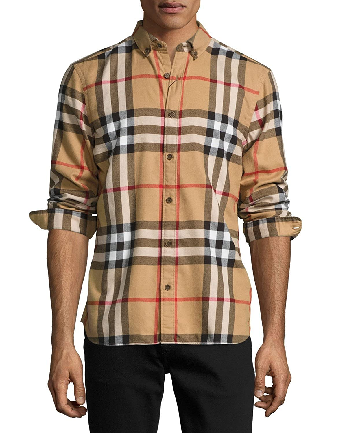 Burberry Check Cotton Flannel Shirt, Camel at Amazon Men's Clothing store: