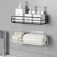 Adhesive Bathroom Shelf Organizer Shower Caddy Iron art Shower Basket Shelf Kitchen Wall Mounted Spice Rack Wall Mounted No Drilling - (2 Pack Black)