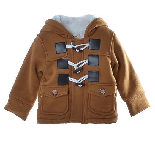 a4d7f7a1f Amazon.com  Baby Warm Fleece Hooded Coat Horn Button Outerwear Boy ...