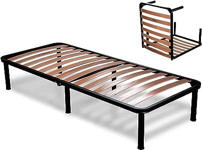 EvergreenWEB – Somier doble plegable, altura de 35 cm, con 6 patas desmontables, estructura de acero para camas y colchones