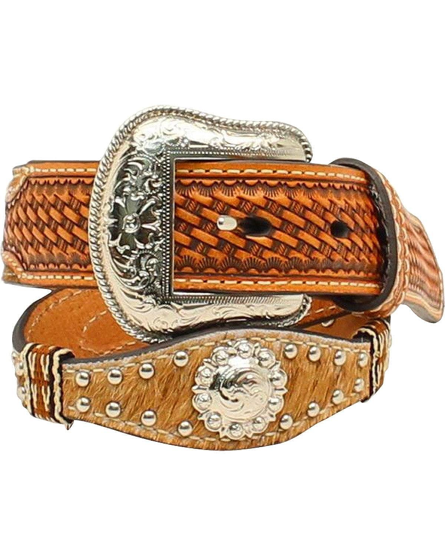 Nocona Boy's Calf Hair Western Style Studwork Conchos Belt