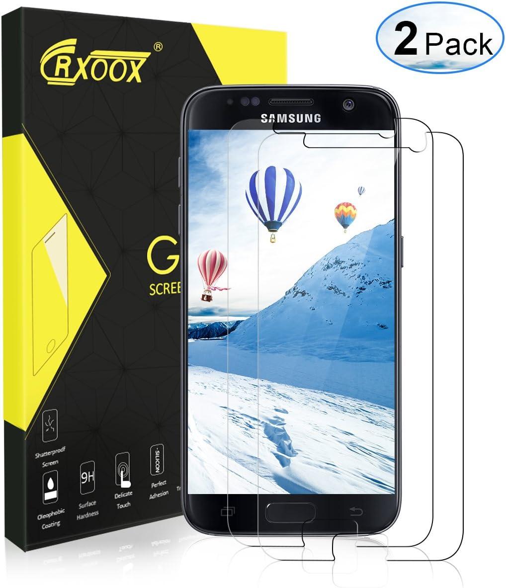 CRXOOX Protector de Pantalla para Samsung Galaxy S7, [2 Unidades], Anti-Aceite, Arañazos, Ampollas y Huellas Dactilares, HD, Dureza 9H, 0.33 mm: Amazon.es: Electrónica