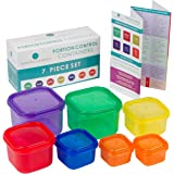 Color Coded, 7 Piece Portion Control Container Set | Nontoxic Recycled Polypropylene, Microwave & Dishwasher Safe | Bonus Insert & EBook | Compatible with Popular Diet Programs by Modern Lifestyles