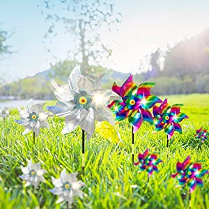 10 Pack Bird Repellent Pinwheels with Stakes, 20.9 Inch Pinwheels for Yard and Garden, Bird and Animal Deterrent Device to Scare Birds Away from Patio Farm(Mix Color)