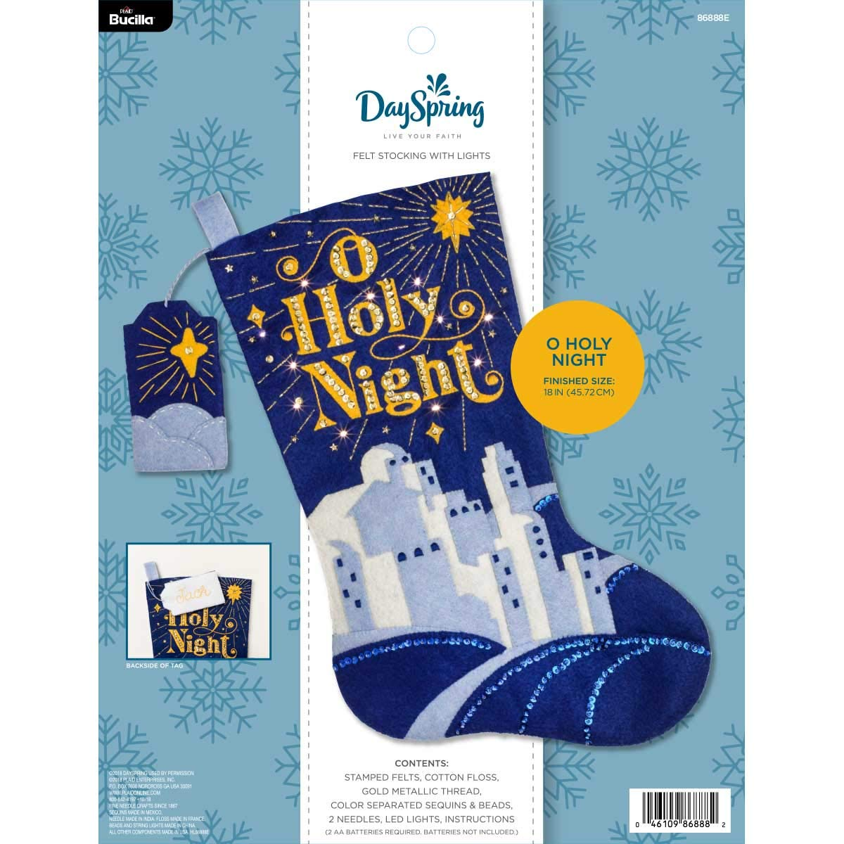 Bucilla 86888E Hallmark Dayspring Felt Applique Christmas Stocking Kit, 18', O Holy Night