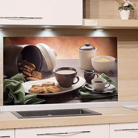 GRAZDesign Glasrückwand Küche Frühstück - Küchen Spritzschutz Herd Tisch  mit Tasse Kekse Dose Schale - Küchenrückwand Glas Küchenbilder / 60x60cm