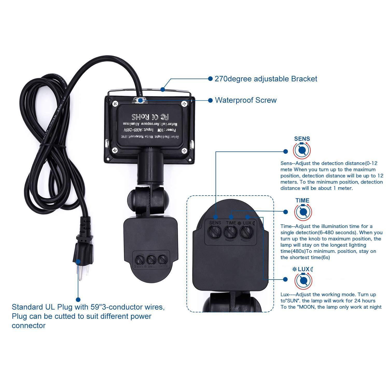 Motion Sensor Flood Lights Outdoor, 10W Induction LED Lamp, IP65 Waterproof Spotlight, 6500K LED Sensor Light, Security Light with US 3-Plug (Daylight ...