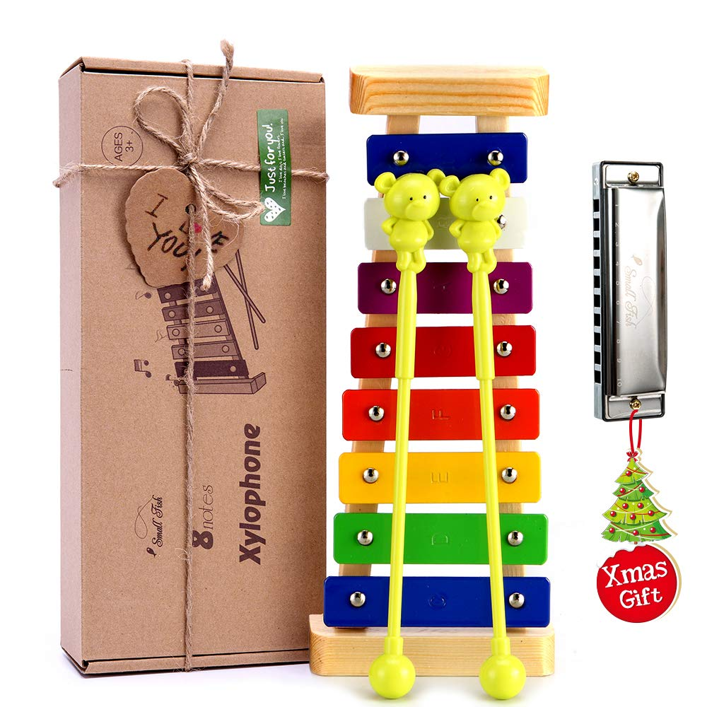 Xylophone for Kids: Best Holiday/Birthday DIY Gift Idea for your Mini Musicians, Musical Toy with Child Safe Mallets, Perfectly Tuned Instrument for Toddlers, Musical Cards and Harmonica Included by SMALL FISH
