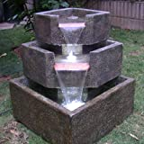 Smart Living Cascadia Falls Electric Corner Fountain Designed To Be Durable And Low Maintenance With A Natural Look Granite Finish And LED Lights To Provide Nighttime Illumination, 46200