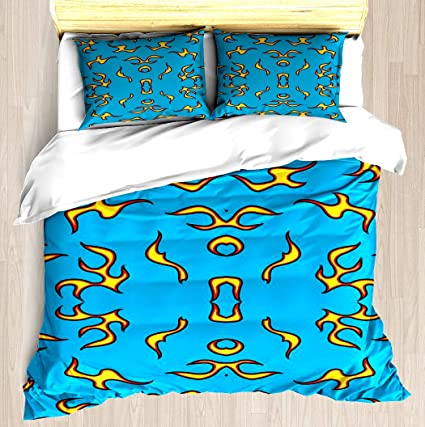 NTCBED Blue Flame - Duvet Cover Set Soft Comforter Cover Pillowcase Bed Set  Unique Printed Floral Pattern Design Duvet Covers Blanket Cover Twin/XL