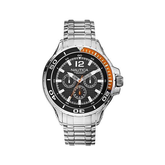 Nautica a22617g - Reloj para hombres, correa de acero inoxidable color plateado