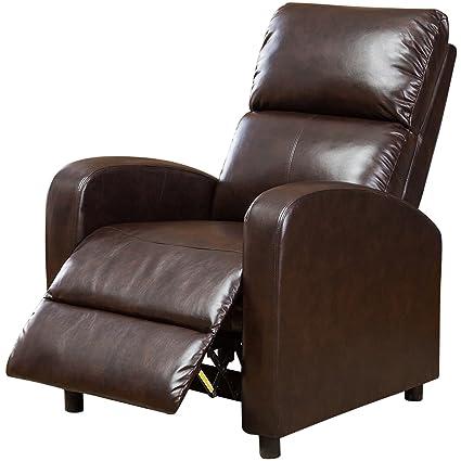 BONZY Manual Recliner Chair Modern Push Back Recliner   Dark Brown