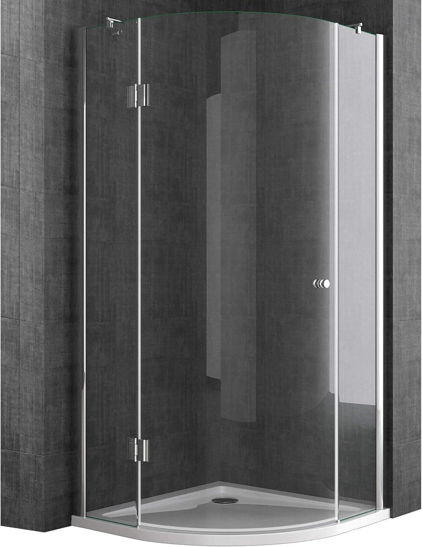 Sogood Cabina de ducha de cuarto de círculo Rav06K 100x100x190cm, mampara de vidrio de seguridad transparente | Con revestimiento - Nano: Amazon.es: Bricolaje y herramientas