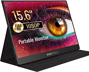 AMATAGE HDMI Portable Monitor 15.6 Inch for USB Type C, FHD IPS Screen Portable Display 1920×1080 for Laptop PC MAC Phone Xbox PS4, Leather Case, 2 Speakers (Black)