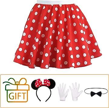 Hook Falda Anos 50 Lunares Mujer Disfraz Set Rojo, 1 Orejas de ...