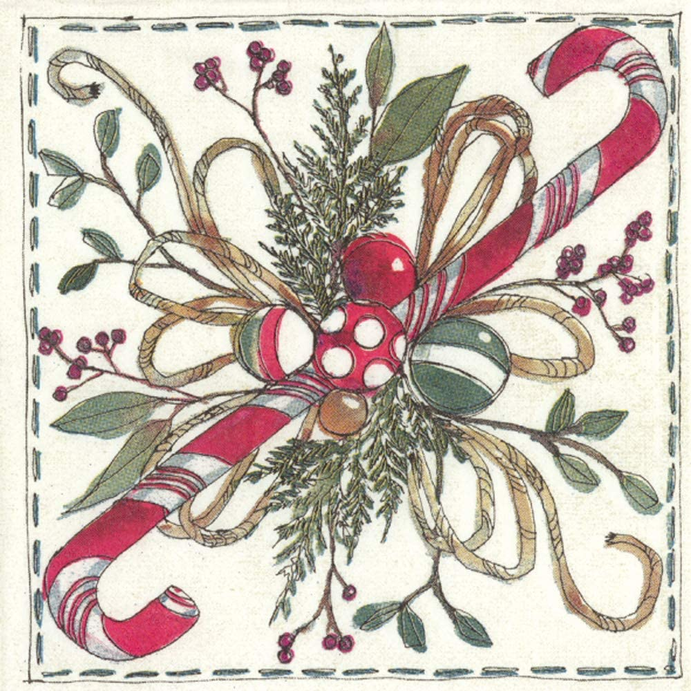 Boston International IHR Cocktail Beverage Paper Napkins, 5 x 5-Inches, Christmas Floristry Cream