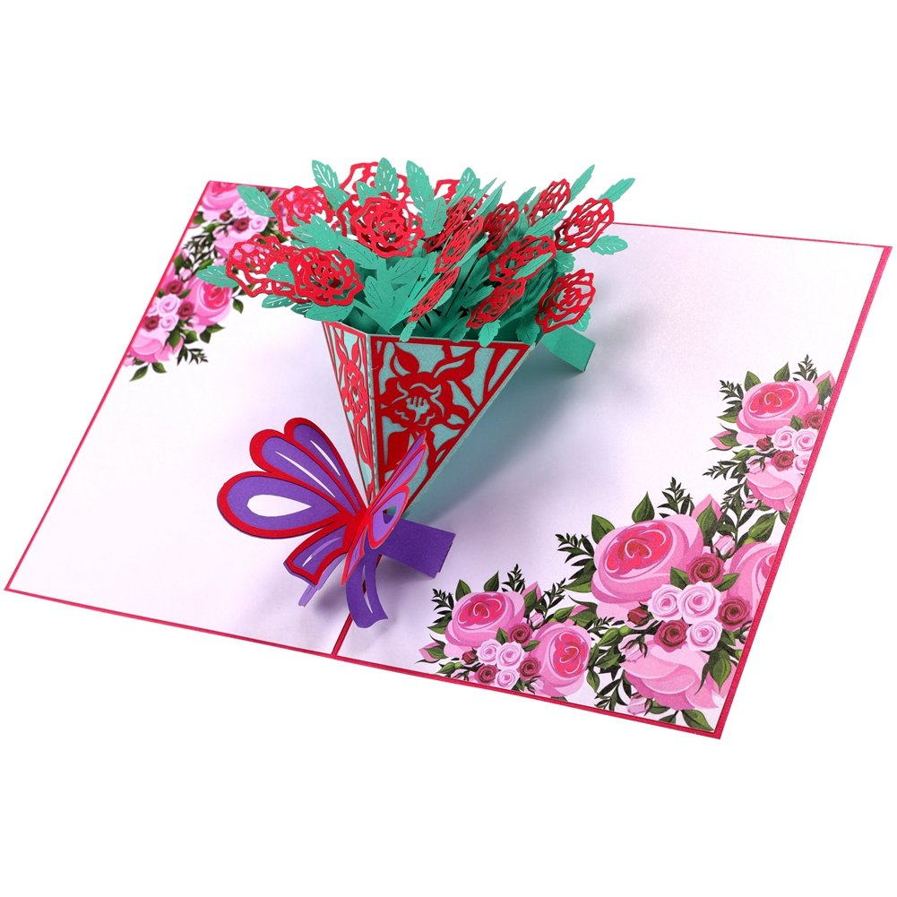 Floral Bouquets Handmade Greeting Card Unique Pop-up Card Floral Easel Card All Occasion Card