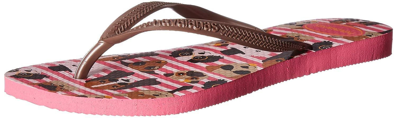 Havaianas Womens Slim Pets Sandal Flip Flop (39 BR/9/10 W US, Yellow/Pink Cat)